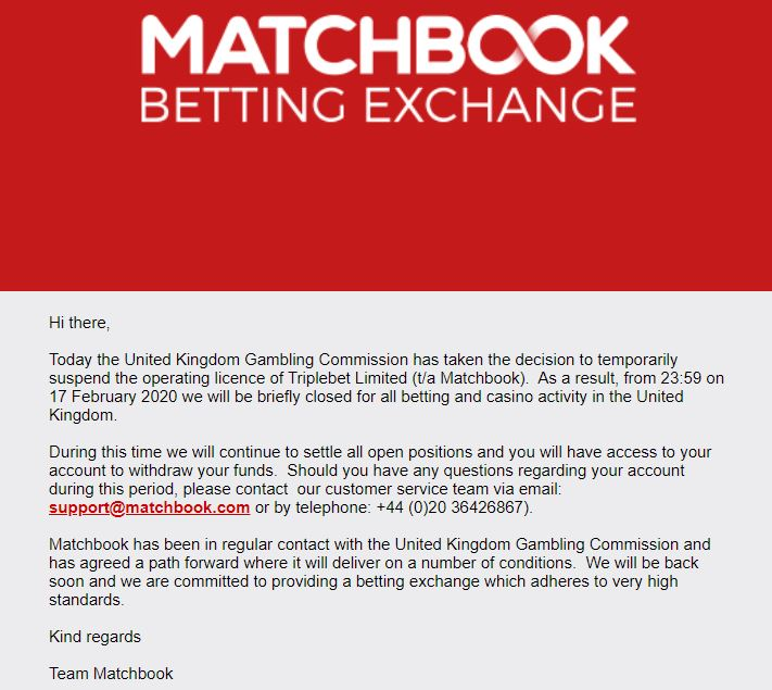 Matchbook closes to UK customers