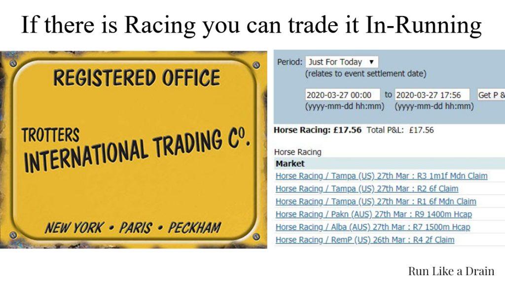 Trading International Horse races on Betfair.