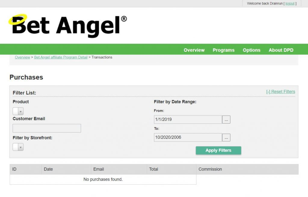 Bet Angel Affiliate Scheme.